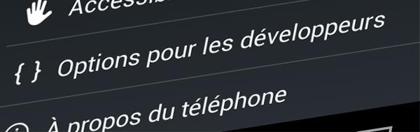 Activer les options pour les développeurs sous Android