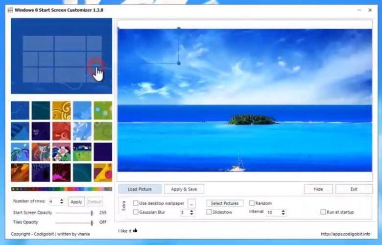 Windiws 8 Start Screen Customizer
