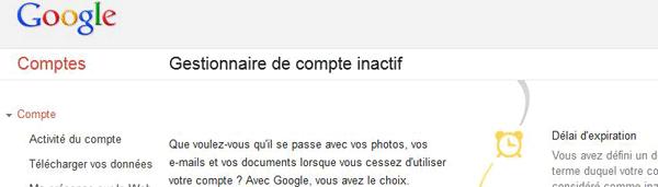 Google lance son gestionnaire de compte inactif