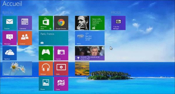 Afficher arrière-plan bureau sur accueil windows 8.1