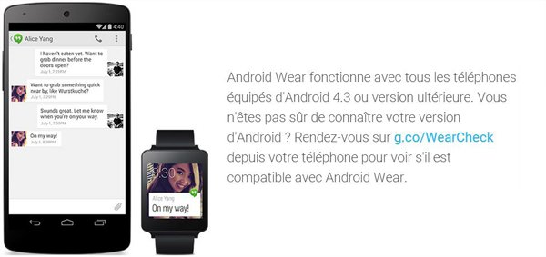 Android Wear : Smartphones Compatibles