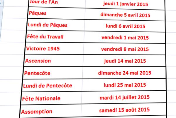 Photo de Excel : liste des dates des jours fériés