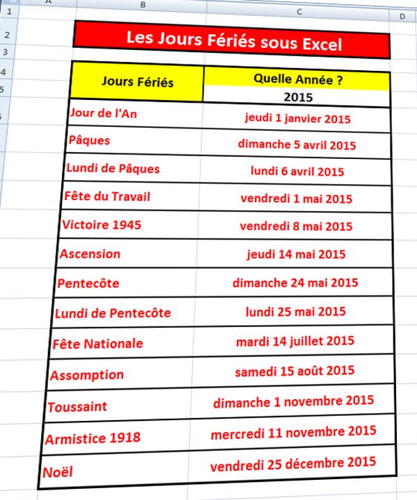Excel : liste des dates des jours fériés