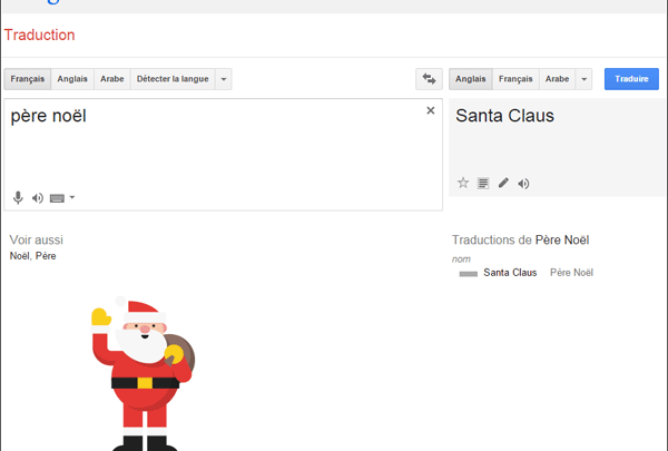 Photo de Le Père Noël s'invite dans Google Traduction