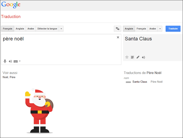 Le Père Noël s'invite dans Google Traduction