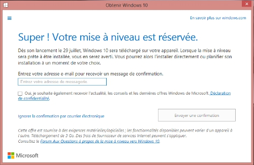Windows 10 - Confirmation Réservation