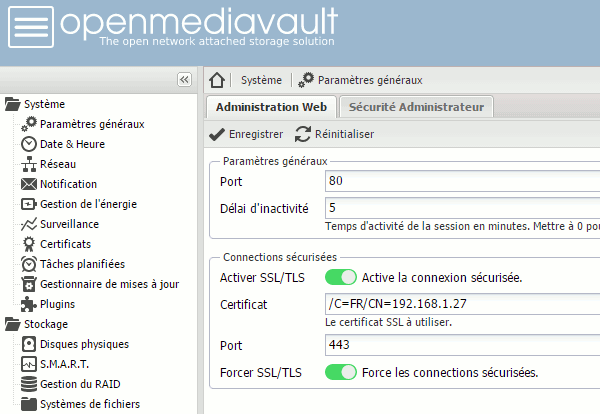 OpenMediaVault : Paramètres et Sécurité