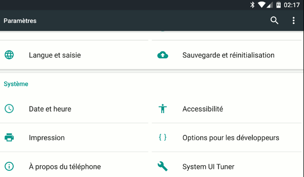 Photo de Marshmallow : activer System UI Tuner