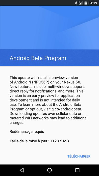 Android N Beta : mise à jour