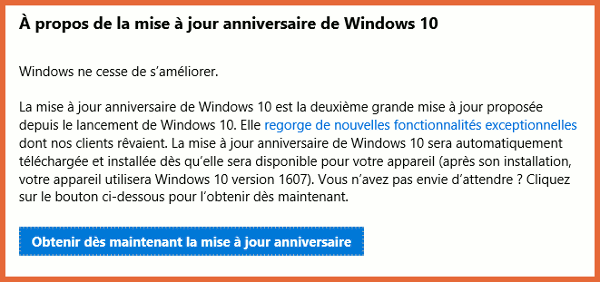 MAJ Anniversaire Windows 10