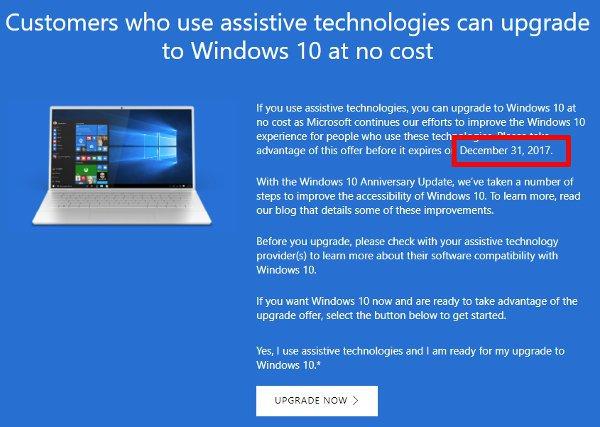 Windows 10 - mise à jour gratuite termine fin 2017